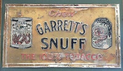 Antique Garret's Snuff Tobacco Advertising Tin Sign- Man Cave-father's Day
