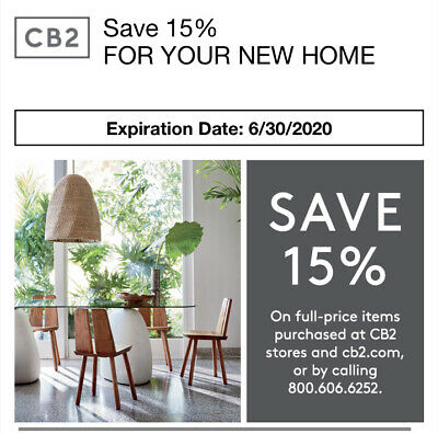 CB2 15% off Full Price purchase in store or online at cb2.com - Exp. 8/31/20