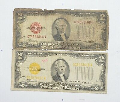 Lot (2) Red Seal $2.00 Series D & E US 1928 Notes - Currency Collection *715
