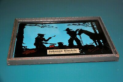 Vintage Reverse Painting Cowboy campfire advertising  Johnson Electric