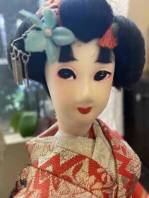 "Japanese Vintage Geisha Doll Gold/red Kimono 15"" With Stand"