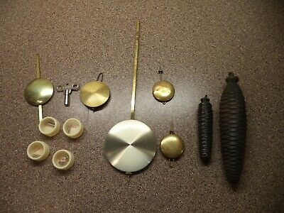 Vintage 12 LOT Clock Pendulums & Weights ~ Pine Cone Cuckoo Clock Weights~ Parts