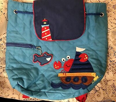 Stephen Joseph Lighthouse Crab Quilted Back Pack Bag Kids