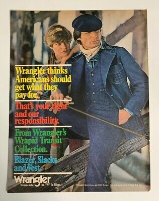 1976 Wrangler Jeans Magazine Print Ad Canadian Tuxedo Blue Bell Advertisement