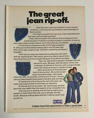1976 Big Smith Jeans Print Ad The Great Jean Rip-off Casual Western Work Clothes