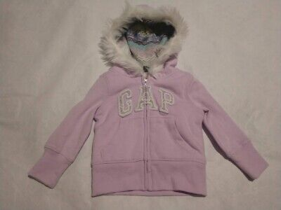 NWT Baby Gap Girls Purple Logo Cozy Sherpa Hoodie Sweatshirt 12-18 Months