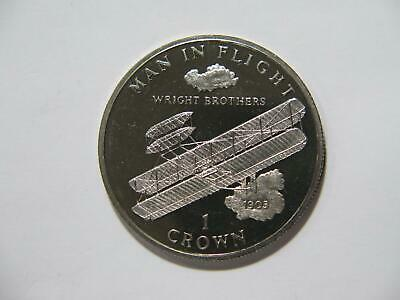 Isle Of Man 1995 1 Crown Wright Brothers Airplane Qe Ii Cn World Coin 🌈⭐🌈