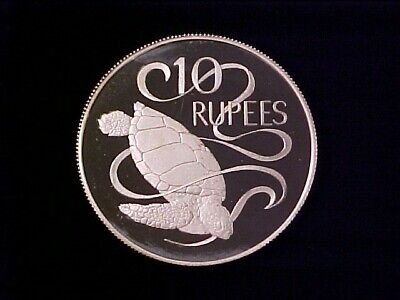 Seychelles 10 Rupees Silver Proof Crown 1974 Sea Turtle Nice
