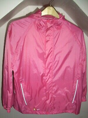 Girls pink waterproof zip up rain jacket, age 13 to 14 years, hi gear