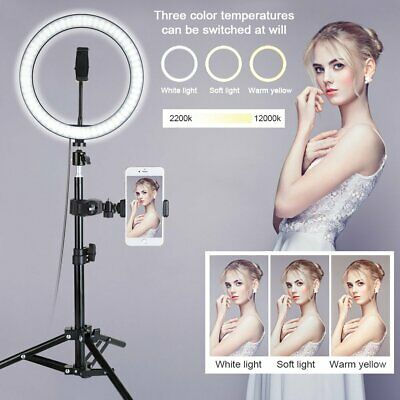 """10"""" LED Ring Light Camera Lamp+Tripod Stand Opt Phone Holder For Video Live US"""