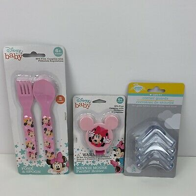 Disney Baby Minnie Mouse Pacifier Holder Fork Spoon Corner Protectors Set