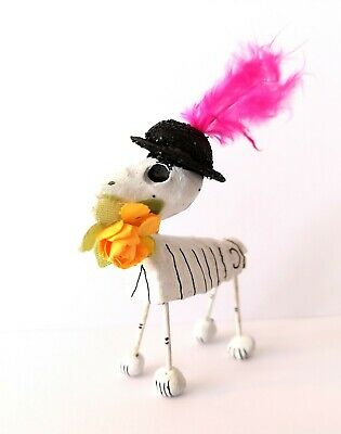 Authentic Mexican Day of the Dead Folk Art Dog Skeleton with Flowers & Black Hat