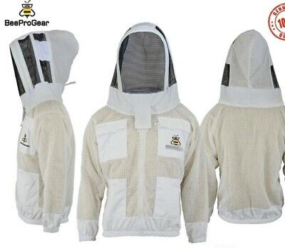 Unisex 3Layer Ventilated White Mesh Bee Jacket Astronaut Fencing Veil/Hood. S