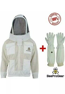 Unisex 3Layer Ventilated White Mesh Bee Jacket Fencing Veil/Hood+FREE GLOVES.2XL