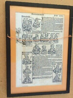 framed double sided original leaf from the 1493 Nuremberg Chronicle