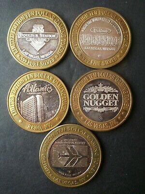 Lot of Five Silver Casino Gaming Tokens