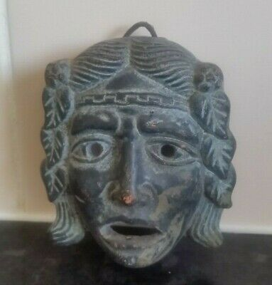 Vintage Painted Terracotta Greek Tragedy Theater Sad Face Mask Greece Small 9Cm