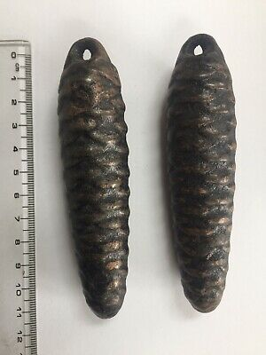 2 Vintage Pine cone Clock Weights cast metal (Cuckoo Clock type).