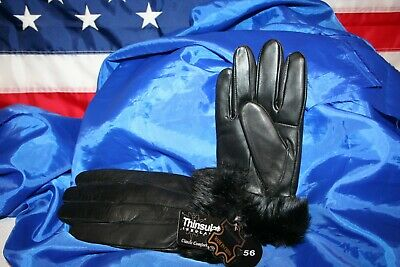 Thinsulate Womens Black Leather Faux Fur Gloves(2 pair) Size X-Large  free ship