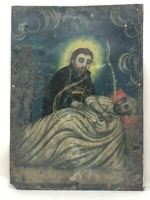 Genuine Antique Mexican Retablo - Oil on Tin - San Camilo de Lelis
