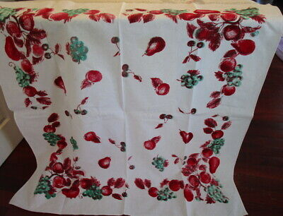 "Vintage 1940s COTTON TABLECLOTH ~ bright red fruits CHERRIES & APPLES 52"" square"