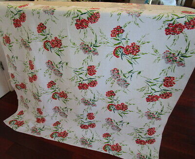 Vintage 1940s FLORAL COTTON TABLECLOTH ~ red/smoke grey FLOWERS on white ~ 50x45