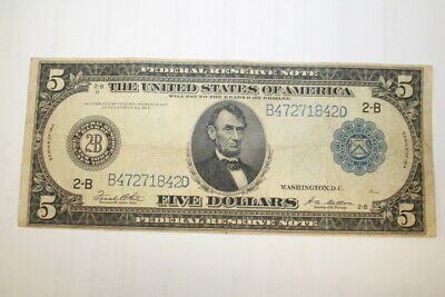 1914 2-B $5 Federal Reserve Note Large Size Currency Lincoln Circulated