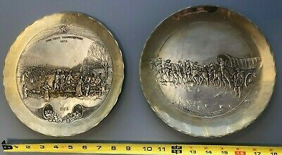 2 x Wendell August Sterling Silver Plates Conestoga Wagon + First Thanksgiving
