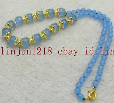 Natural 6mm + 10mm Blue Chalcedony Round Gemstone Beads Necklace 18'' AAA