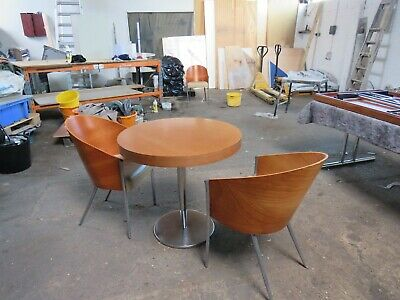 Vintage Danish  Designer Round Table With 2  King Costas Philippe Starck Chairs