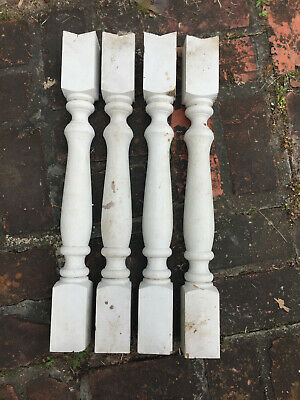 4 Antique Vintage Balusters Turned Wood Porch Spindle Post
