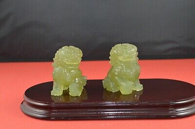 Two Small Green Quartz Figurines  Chinese Dog Of Fo/Lion Of Fo