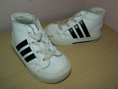 baby white/black Adidas Neo Label high top slip on shoes trainers uk 4 eur 20