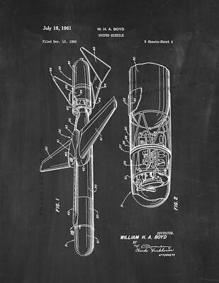 Guided Missile Patent Print Chalkboard