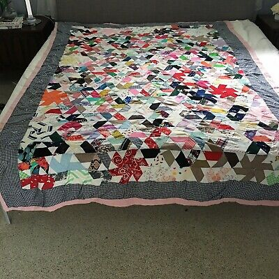 "Hand Made Scappy Multicolor Quilt 66"" x 95"" Pink Backing Unknown Vintage"
