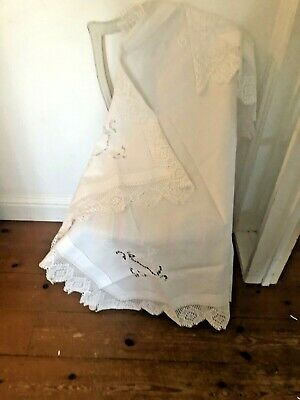 "Vintage White Cotton Tablecloth With Deep Cotton Lace Edge 21""Sq Crinoline Lady"