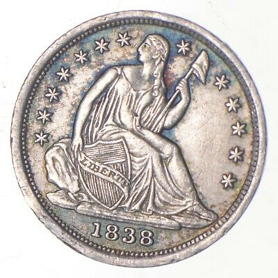 5c **1/2 Dime HALF** 1838 Seated Liberty Half Dime Early American Type Coin *208