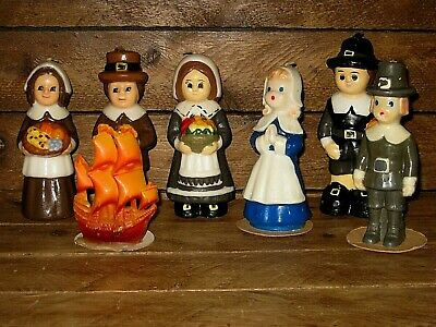 Lot of 7 vintage 1960s Thanksgiving Candles Pilgrims, Ship - Gurley & Others