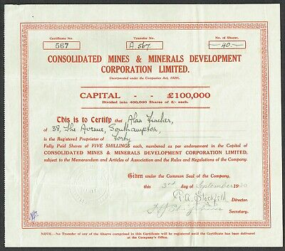 Share certificate, Consolidated Mines and Minerals Development Corporation Ltd.