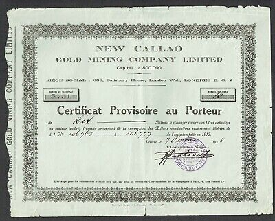 Share certificate, New Callao Gold Mining Co., Ltd. (1928)