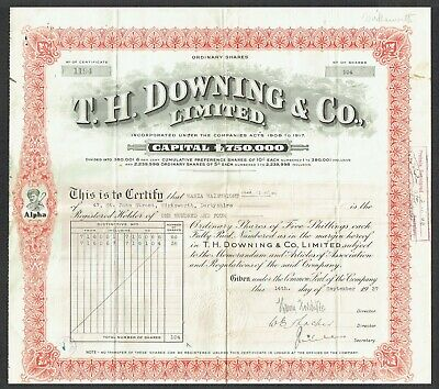 Share certificate, T. H. Downing and Co., Ltd. (1937)