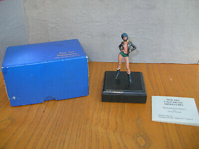 Motor Cycle Girl fine art cast metal model hand painted boxed