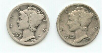 1916 P & S  Set of two Mercury Dimes  90% Silver Circulated Good to Very Good VG