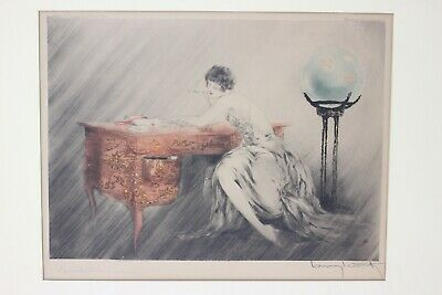 """Louis Icart """"Recollections"""" 1928 etching and aquatin with color, signed"""