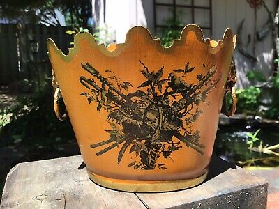 Rare Petite Italian Tole Cache Pot Planter Doves Pumpkin Orange Lion Head Handle
