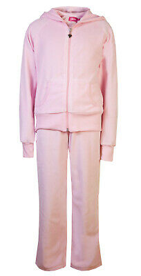Childrens Velour Tracksuits Hoodys Joggers Set Girls Lounge Suit Pink Age 9-10