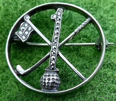 """Mid 20Th Century Silver And Marcasite """"Hole In One"""" Golfing Brooch"""