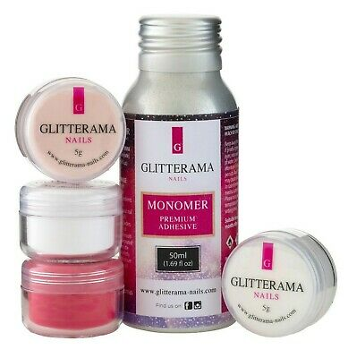 Glitterama monomer and acrylic powder trial kit clear, white and red
