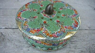 "Vintage Daher Embossed Floral Tin with Finial, Made in England 6"" x 3"" EUC/VGC"