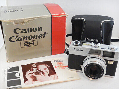 CANON Canonet 28 Rangefinder Camera 40mm f2.8 + BOX Scatola +BAG Borsa Excellent